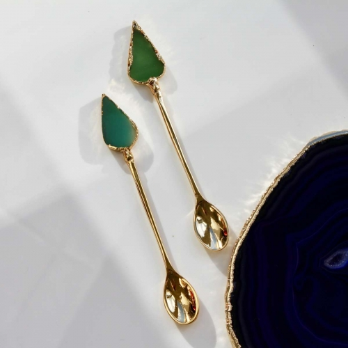 Gold agate spoons