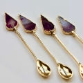 pink agate gold spoons